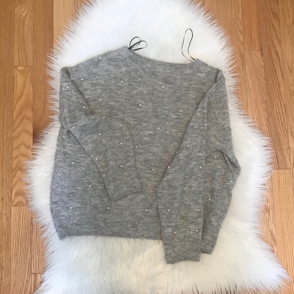 H&M Sweaters - Grey Sweater with Pearl details